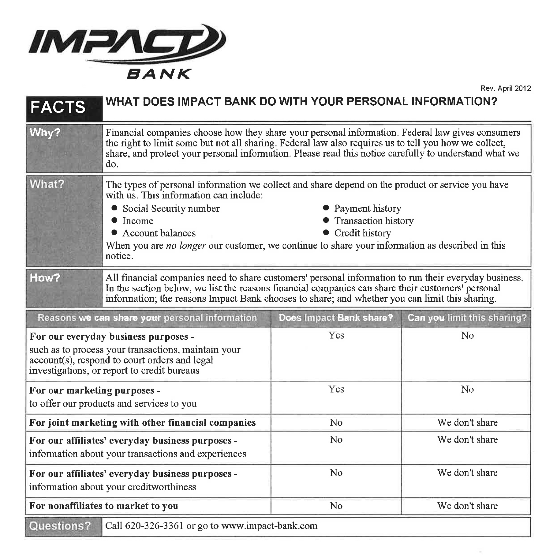 Page 1 of Impact Bank Privacy Policy